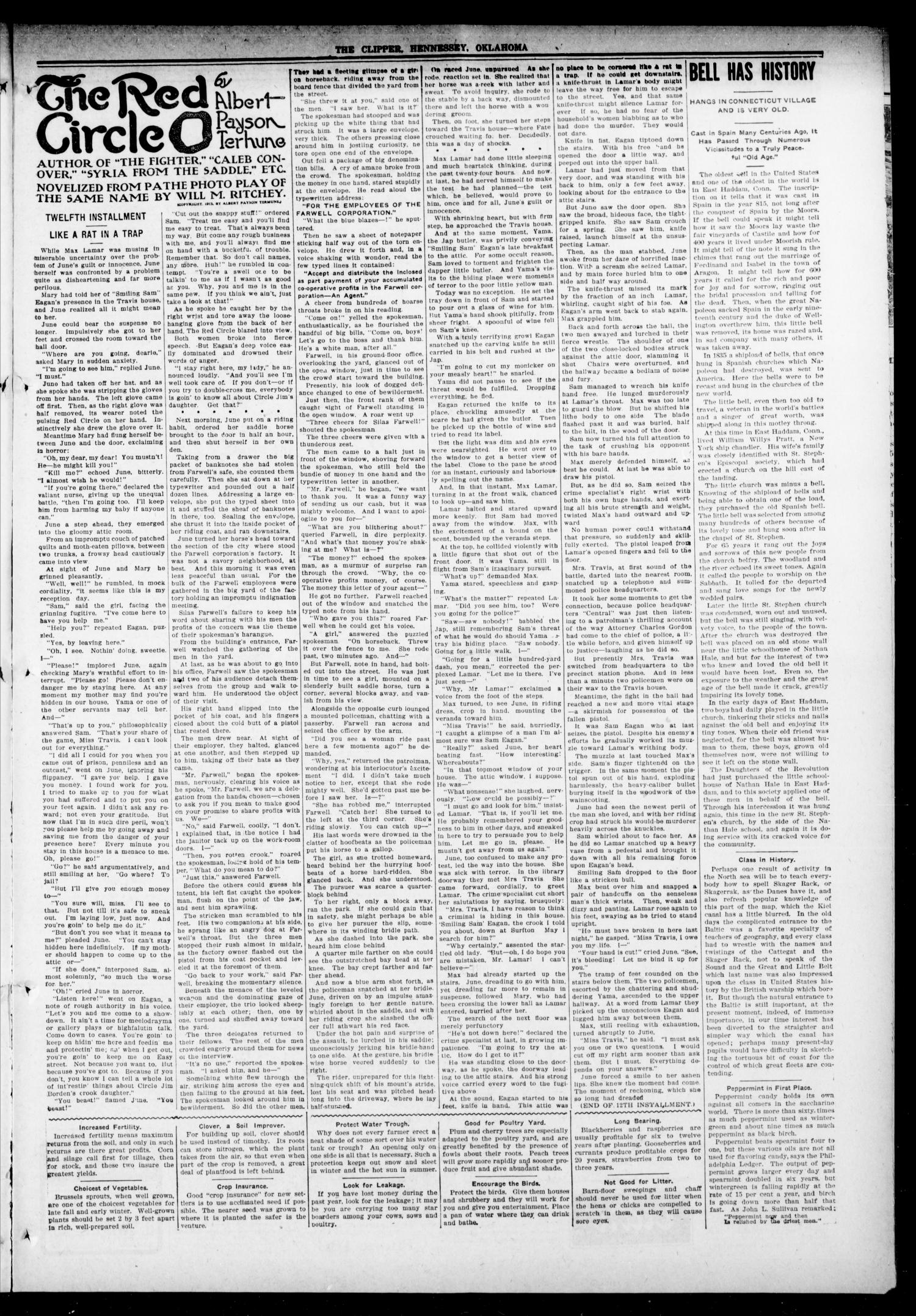 The Hennessey Clipper (Hennessey, Okla.), Vol. 27, No. 6, Ed. 1 Thursday, July 13, 1916                                                                                                      [Sequence #]: 3 of 12
