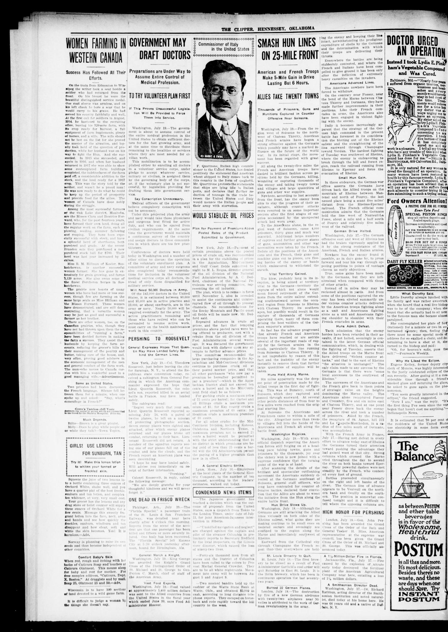 The Hennessey Clipper (Hennessey, Okla.), Vol. 29, No. 8, Ed. 1 Thursday, July 25, 1918                                                                                                      [Sequence #]: 2 of 12