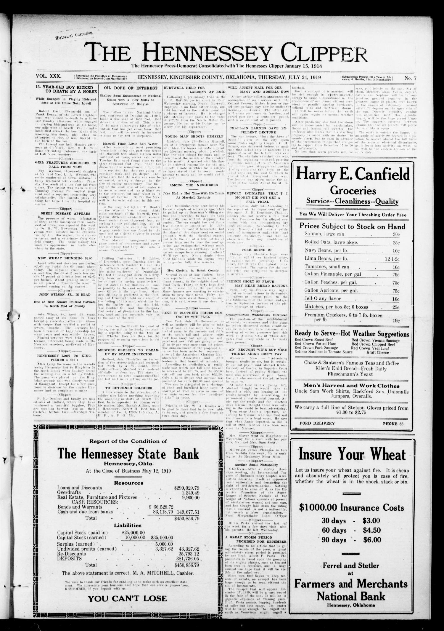 The Hennessey Clipper (Hennessey, Okla.), Vol. 30, No. 7, Ed. 1 Thursday, July 24, 1919                                                                                                      [Sequence #]: 1 of 8