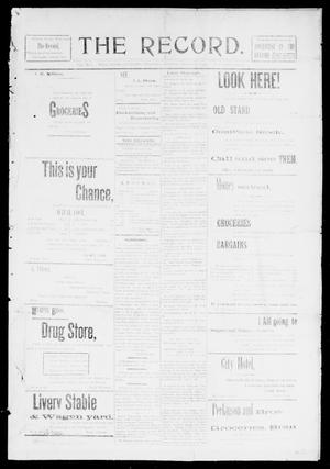 Primary view of object titled 'The Record. (Noble, Okla.), Vol. 1, No. 1, Ed. 1 Thursday, February 20, 1902'.