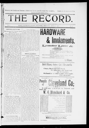 Primary view of object titled 'The Record. (Noble, Okla.), Vol. 1, No. 24, Ed. 1 Thursday, July 31, 1902'.
