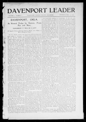 Primary view of object titled 'Davenport Leader (Davenport, Okla.), Vol. 1, No. 1, Ed. 1 Thursday, May 5, 1904'.