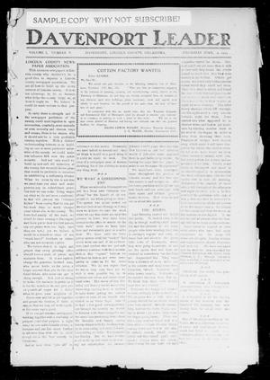 Primary view of object titled 'Davenport Leader (Davenport, Okla.), Vol. 1, No. 5, Ed. 1 Thursday, June 2, 1904'.