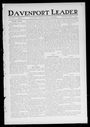 Primary view of object titled 'Davenport Leader (Davenport, Okla.), Vol. 1, No. 10, Ed. 1 Thursday, July 7, 1904'.