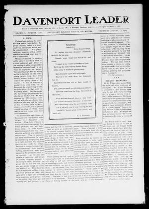 Primary view of object titled 'Davenport Leader (Davenport, Okla.), Vol. 1, No. 14, Ed. 1 Thursday, August 4, 1904'.
