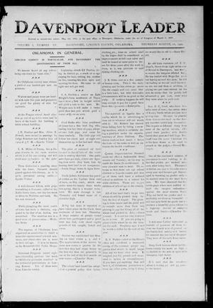 Primary view of object titled 'Davenport Leader (Davenport, Okla.), Vol. 1, No. 15, Ed. 1 Thursday, August 11, 1904'.