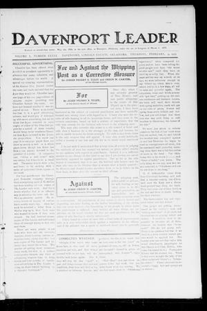 Primary view of object titled 'Davenport Leader (Davenport, Okla.), Vol. 1, No. 41, Ed. 1 Thursday, February 9, 1905'.