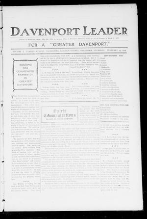 Primary view of object titled 'Davenport Leader (Davenport, Okla.), Vol. 1, No. 43, Ed. 1 Thursday, February 23, 1905'.