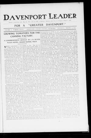 Primary view of object titled 'Davenport Leader (Davenport, Okla.), Vol. 1, No. 45, Ed. 1 Thursday, March 9, 1905'.