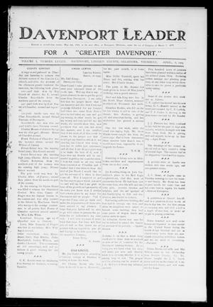 Primary view of object titled 'Davenport Leader (Davenport, Okla.), Vol. 1, No. 49, Ed. 1 Thursday, April 6, 1905'.