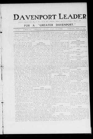 Primary view of object titled 'Davenport Leader (Davenport, Okla.), Vol. 1, No. 52, Ed. 1 Thursday, April 27, 1905'.