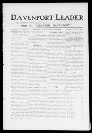 Primary view of object titled 'Davenport Leader (Davenport, Okla.), Vol. 2, No. 5, Ed. 1 Thursday, June 1, 1905'.