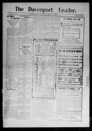 Primary view of object titled 'The Davenport Leader. (Davenport, Okla.), Vol. 4, No. 47, Ed. 1 Thursday, April 2, 1908'.