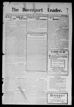 Primary view of object titled 'The Davenport Leader. (Davenport, Okla.), Vol. 5, No. 11, Ed. 1 Thursday, July 23, 1908'.