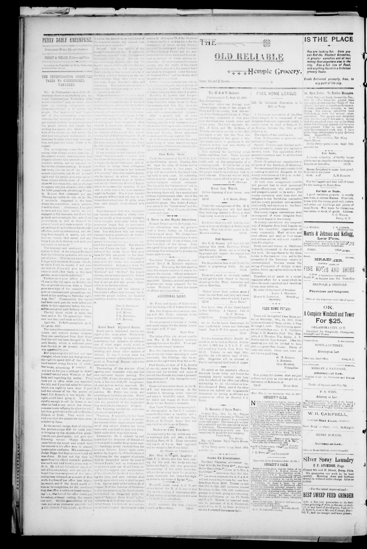Perry Daily Enterprise. (Perry, Okla.), Vol. 1, No. 123, Ed. 1 Wednesday, September 25, 1895                                                                                                      [Sequence #]: 4 of 4