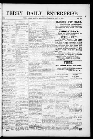 Primary view of object titled 'Perry Daily Enterprise. (Perry, Okla.), Vol. 1, No. 172, Ed. 1 Thursday, November 21, 1895'.