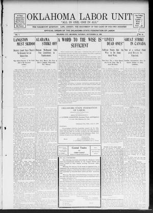 Oklahoma Labor Unit (Oklahoma City, Okla.), Vol. 1, No. 16, Ed. 1 Saturday, September 26, 1908