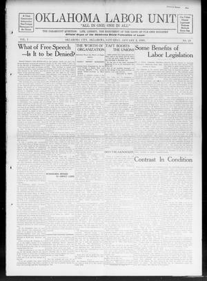 Oklahoma Labor Unit (Oklahoma City, Okla.), Vol. 1, No. 29, Ed. 1 Saturday, January 2, 1909