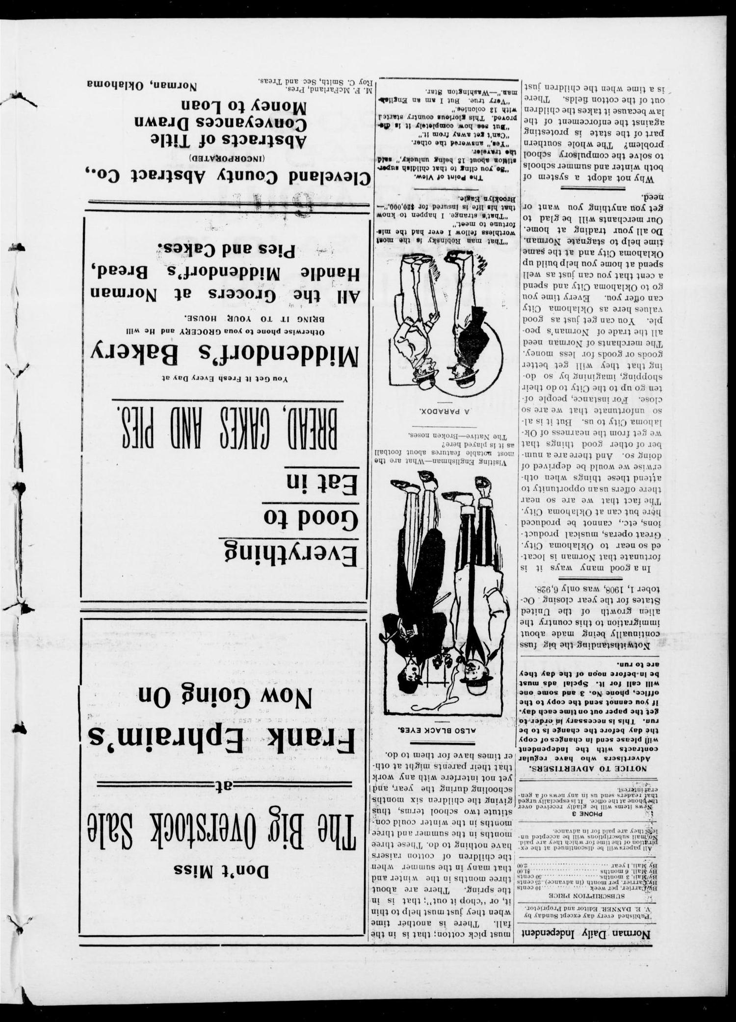 Norman Daily Independent. (Norman, Okla.), Vol. 1, No. 7, Ed. 1 Sunday, January 10, 1909                                                                                                      [Sequence #]: 4 of 8