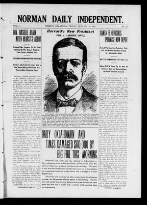 Primary view of object titled 'Norman Daily Independent. (Norman, Okla.), Vol. 1, No. 23, Ed. 1 Friday, January 29, 1909'.