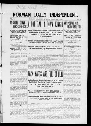 Norman Daily Independent. (Norman, Okla.), Vol. 1, No. 38, Ed. 1 Tuesday, February 16, 1909