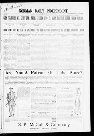 Primary view of object titled 'Norman Daily Independent. (Norman, Okla.), Vol. 1, No. 81, Ed. 1 Wednesday, April 7, 1909'.