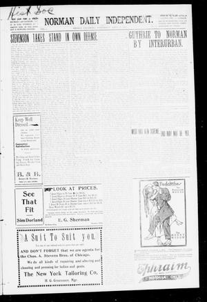 Primary view of object titled 'Norman Daily Independent. (Norman, Okla.), Vol. 1, No. 88, Ed. 1 Thursday, April 15, 1909'.