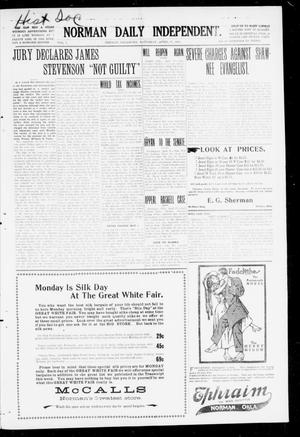 Primary view of object titled 'Norman Daily Independent. (Norman, Okla.), Vol. 1, No. 90, Ed. 1 Saturday, April 17, 1909'.