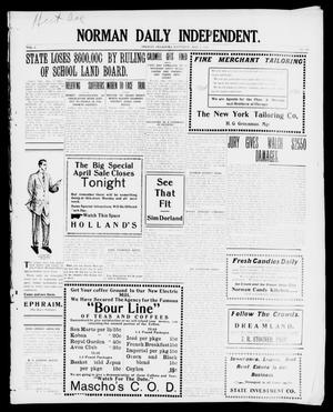 Primary view of object titled 'Norman Daily Independent. (Norman, Okla.), Vol. 1, No. 102, Ed. 1 Saturday, May 1, 1909'.