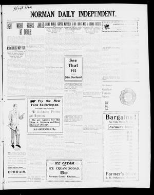 Primary view of object titled 'Norman Daily Independent. (Norman, Okla.), Vol. 1, No. 107, Ed. 1 Friday, May 7, 1909'.