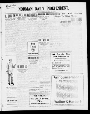 Primary view of object titled 'Norman Daily Independent. (Norman, Okla.), Vol. 1, No. 108, Ed. 1 Saturday, May 8, 1909'.