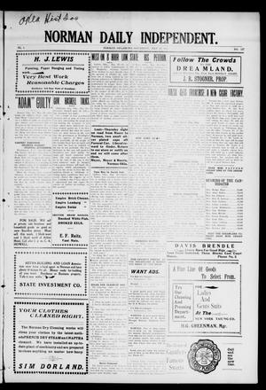 Primary view of object titled 'Norman Daily Independent. (Norman, Okla.), Vol. 1, No. 126, Ed. 1 Saturday, May 29, 1909'.