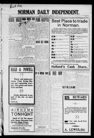 Primary view of object titled 'Norman Daily Independent. (Norman, Okla.), Vol. 1, No. 138, Ed. 1 Thursday, June 10, 1909'.