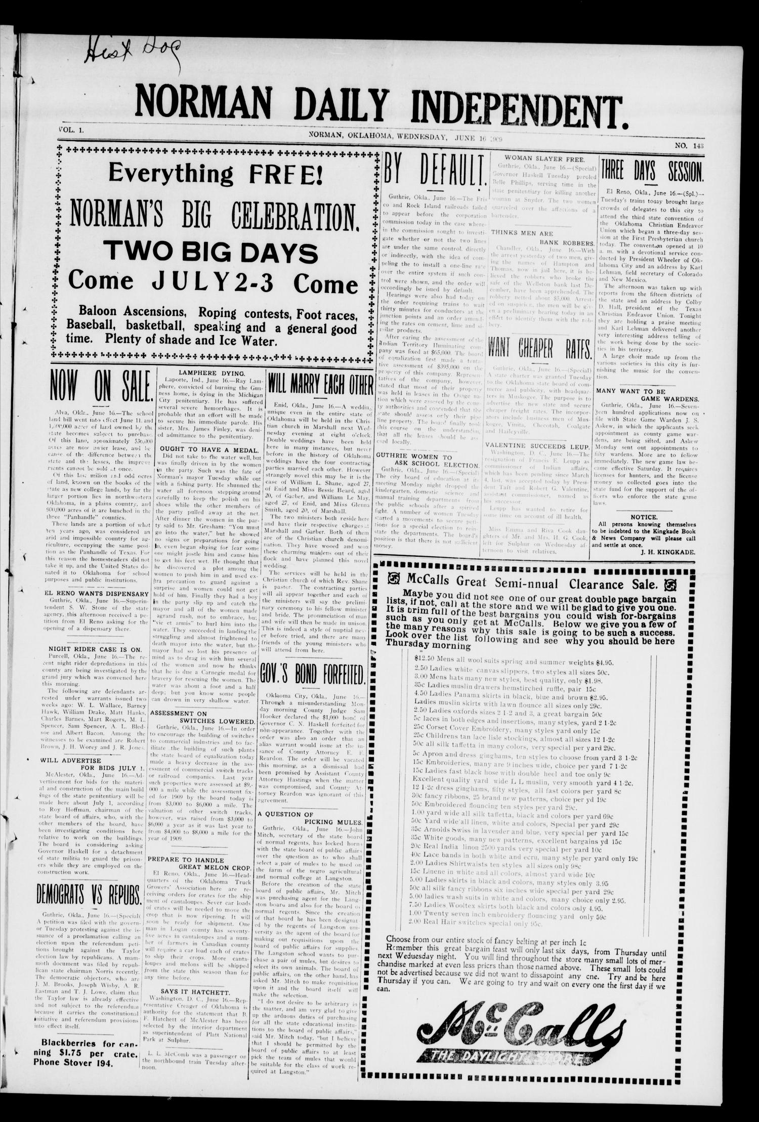 Norman Daily Independent. (Norman, Okla.), Vol. 1, No. 143, Ed. 1 Wednesday, June 16, 1909                                                                                                      [Sequence #]: 1 of 4