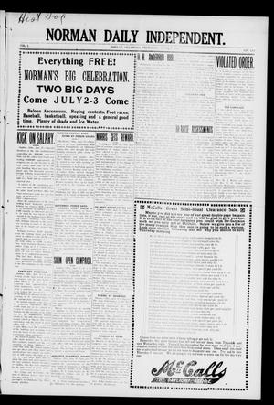 Primary view of object titled 'Norman Daily Independent. (Norman, Okla.), Vol. 1, No. 143, Ed. 1 Thursday, June 17, 1909'.