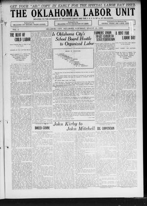 The Oklahoma Labor Unit (Oklahoma City, Okla.), Vol. 2, No. 9, Ed. 1 Saturday, August 21, 1909