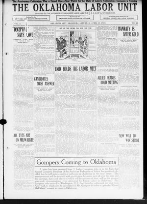 Primary view of object titled 'The Oklahoma Labor Unit (Oklahoma City, Okla.), Vol. 2, No. 44, Ed. 1 Saturday, April 23, 1910'.