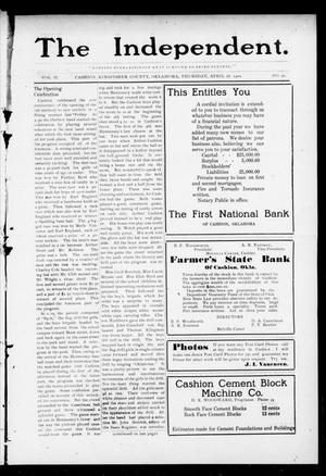 Primary view of object titled 'The Independent. (Cashion, Okla.), Vol. 2, No. 51, Ed. 1 Thursday, April 28, 1910'.