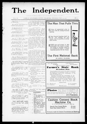 Primary view of object titled 'The Independent. (Cashion, Okla.), Vol. 3, No. 2, Ed. 1 Thursday, May 19, 1910'.