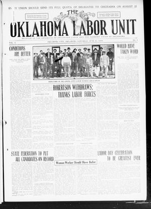 Primary view of object titled 'The Oklahoma Labor Unit (Oklahoma City, Okla.), Vol. 3, No. 1, Ed. 1 Saturday, June 25, 1910'.