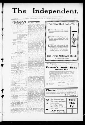 Primary view of object titled 'The Independent. (Cashion, Okla.), Vol. 3, No. 8, Ed. 1 Thursday, June 30, 1910'.