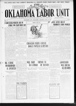 Primary view of object titled 'The Oklahoma Labor Unit (Oklahoma City, Okla.), Vol. 2, No. 4, Ed. 1 Saturday, July 16, 1910'.