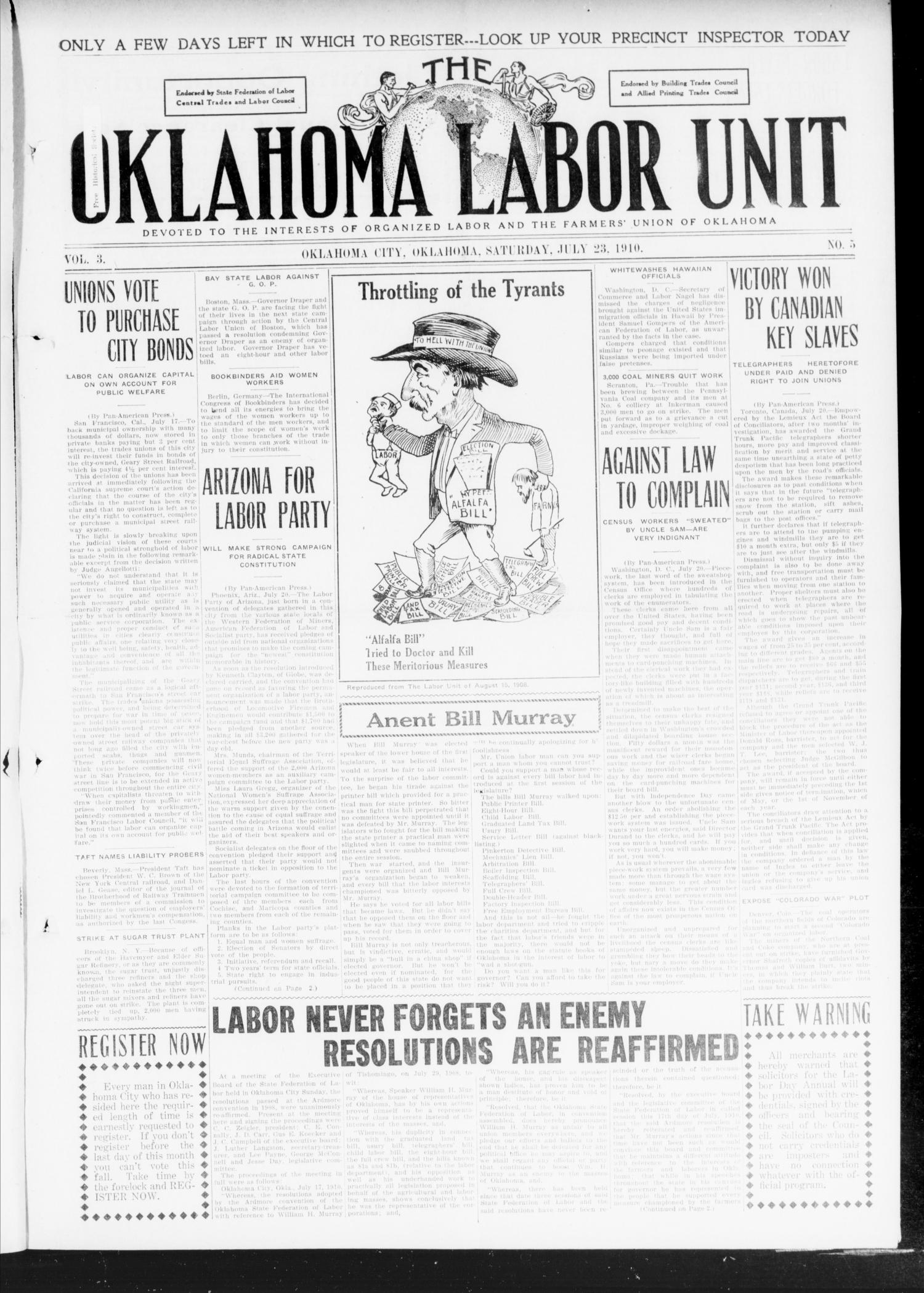 The Oklahoma Labor Unit (Oklahoma City, Okla.), Vol. 2, No. 5, Ed. 1 Saturday, July 23, 1910                                                                                                      [Sequence #]: 1 of 8