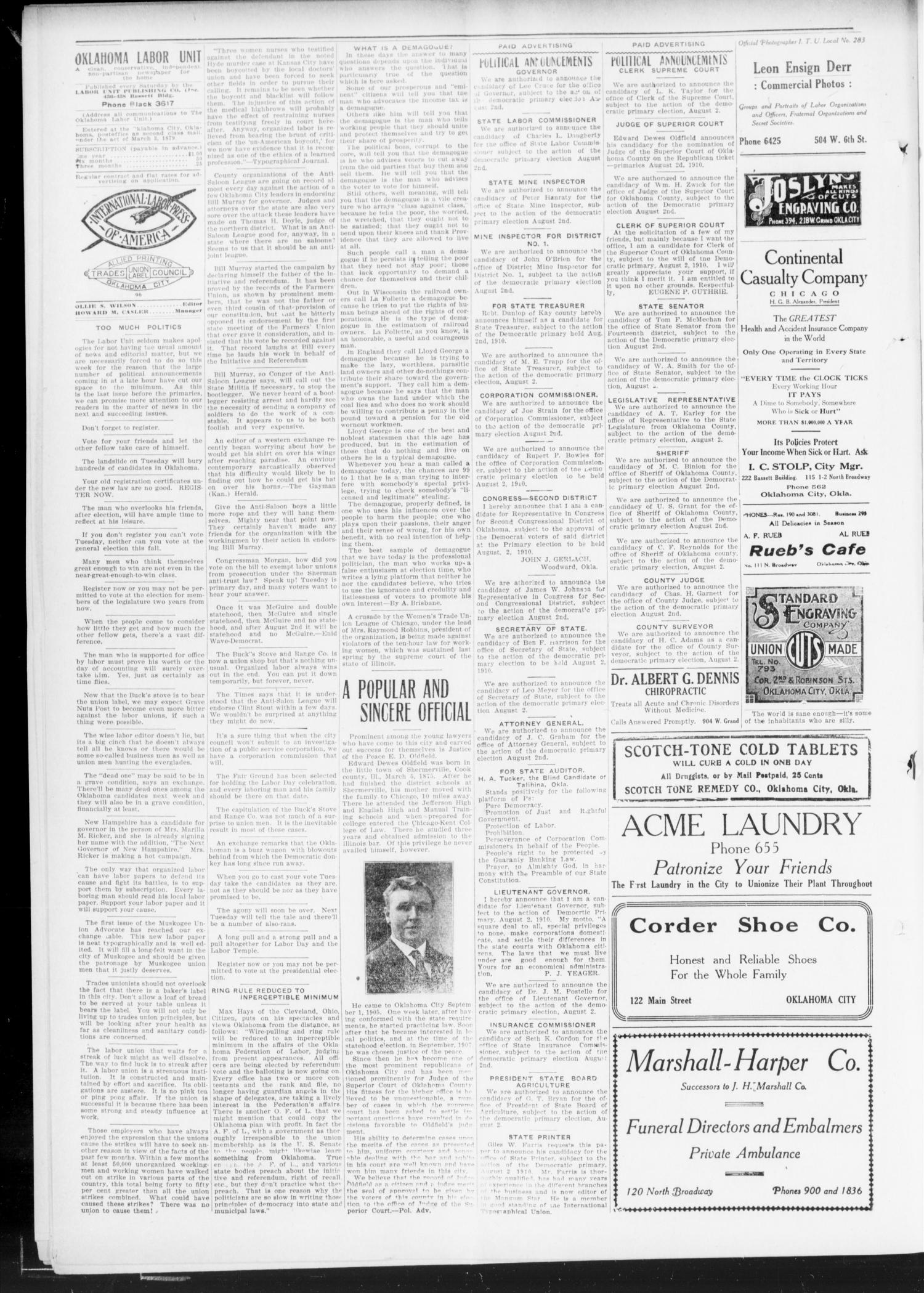 The Oklahoma Labor Unit (Oklahoma City, Okla.), Vol. 2, No. 6, Ed. 1 Saturday, July 30, 1910                                                                                                      [Sequence #]: 4 of 8