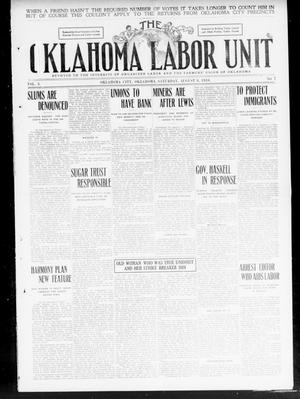 Primary view of object titled 'The Oklahoma Labor Unit (Oklahoma City, Okla.), Vol. 2, No. 7, Ed. 1 Saturday, August 6, 1910'.