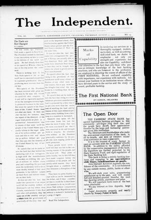 Primary view of object titled 'The Independent. (Cashion, Okla.), Vol. 3, No. 14, Ed. 1 Thursday, August 11, 1910'.