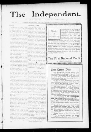 Primary view of object titled 'The Independent. (Cashion, Okla.), Vol. 3, No. 16, Ed. 1 Thursday, August 25, 1910'.