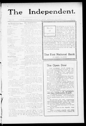 Primary view of object titled 'The Independent. (Cashion, Okla.), Vol. 3, No. 19, Ed. 1 Thursday, September 15, 1910'.