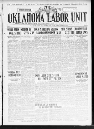 The Oklahoma Labor Unit (Oklahoma City, Okla.), Vol. 2, No. 14, Ed. 1 Saturday, September 24, 1910
