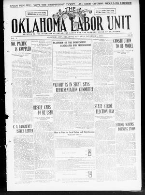 Primary view of object titled 'The Oklahoma Labor Unit (Oklahoma City, Okla.), Vol. 2, No. 20, Ed. 1 Saturday, November 5, 1910'.